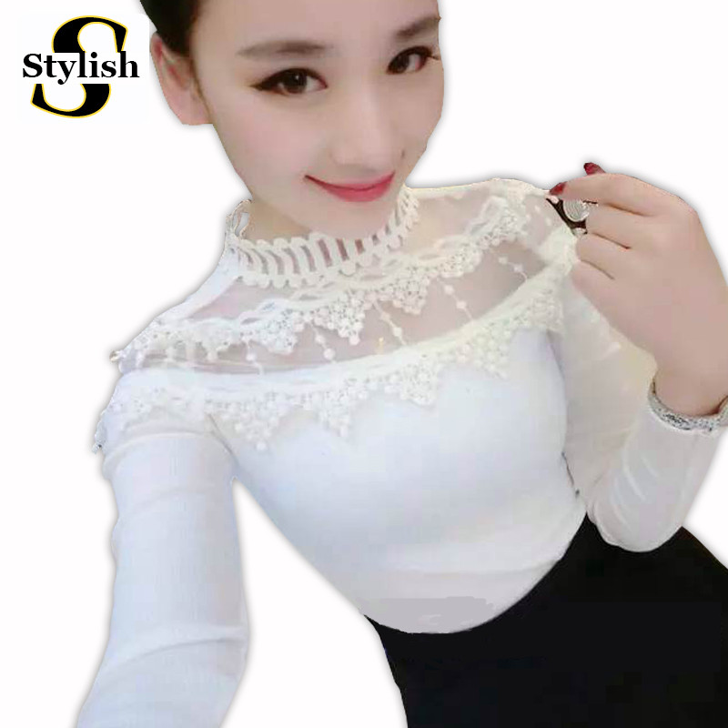 Women Tops And Blouses New Fashion Autumn Shirts Long Sleeve Elegant Embroidery Lace Knitted Hollow Out Sexy White Blouse