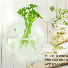Decorative wall hanging wall vase clear glass vessel wall flower floral creative home hydroponic(China (Mainland))