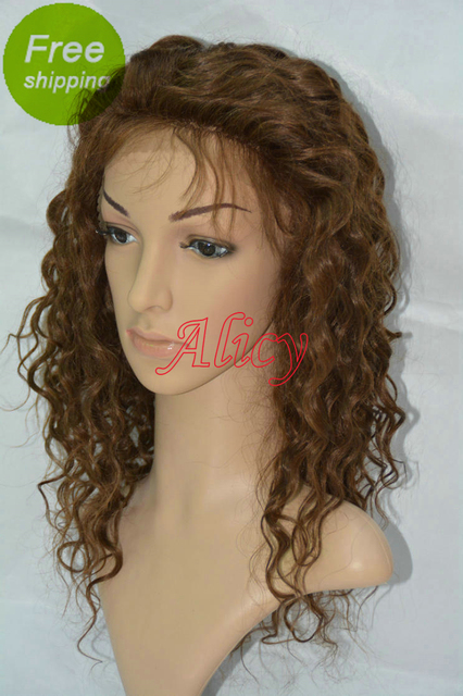 Fast Shipping Deep Curly Indian Human Hair Bleached Knots Natural Hairline Baby Hair Lace Front Wig 4# For African Americans