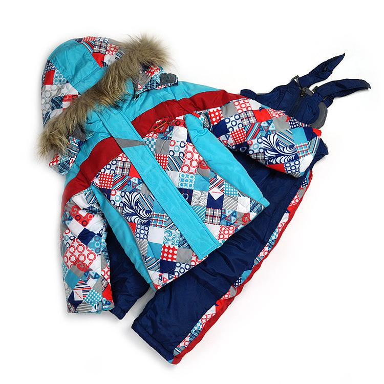 Russia Children's winter clothing sets Baby Boy's Ski suit sets Kids sport warm coats fur -30degree Jackets+bib pants+wool vest(China (Mainland))