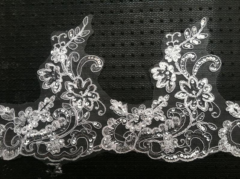 Free Shipping Fashion 6 meter Ivory/white Sequin lace Trim wedding dress Dress , veil, headdress DIY fabric 063(China (Mainland))