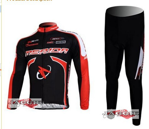 Free shipping Merida Flex stay cycling Team wear clothes bicycle MTB Road bike riding long sleeve jerseys + pants sets BLACK RED<br><br>Aliexpress