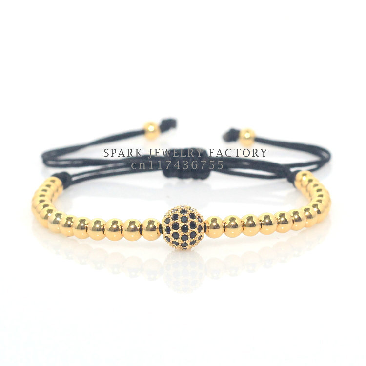 Best Quality Real Gold and Silver Plating Micro Pave CZ Stone Zircon Stone Beads Braiding Macrame Men Bracelet(China (Mainland))