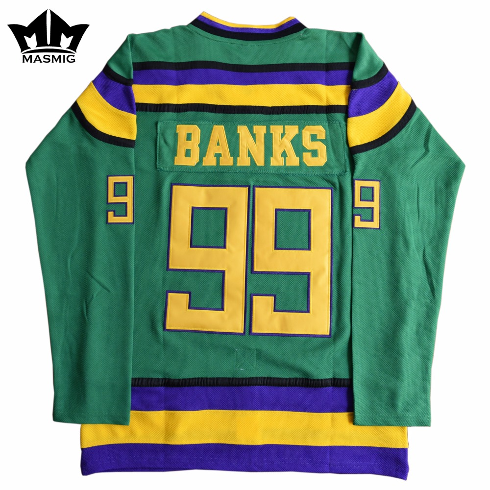 MM MASMIG Mighty Ducks #99 Adam Banks Movie Hockey Jersey Green(China (Mainland))