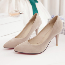 16 New Spring autumn women s Wedding shoes sexy Pointed Toe Slip On red bottom high