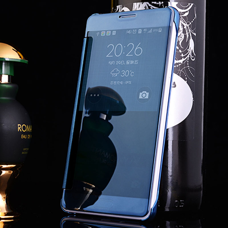PRO Coque Capa For Samsung Galaxy S5 Reflective Mirror Face Transparent Plastic Leather Cover Case For Samsung S5 Coque Fundas(China (Mainland))