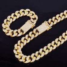 """סגסוגת קריסטל כבד מיאמי קובני שרשרת עם צמיד & שרשרת סט זהב כסף 20mm גדול קולר גברים של ירך הופ תכשיטי 16 """"18""""(China)"""