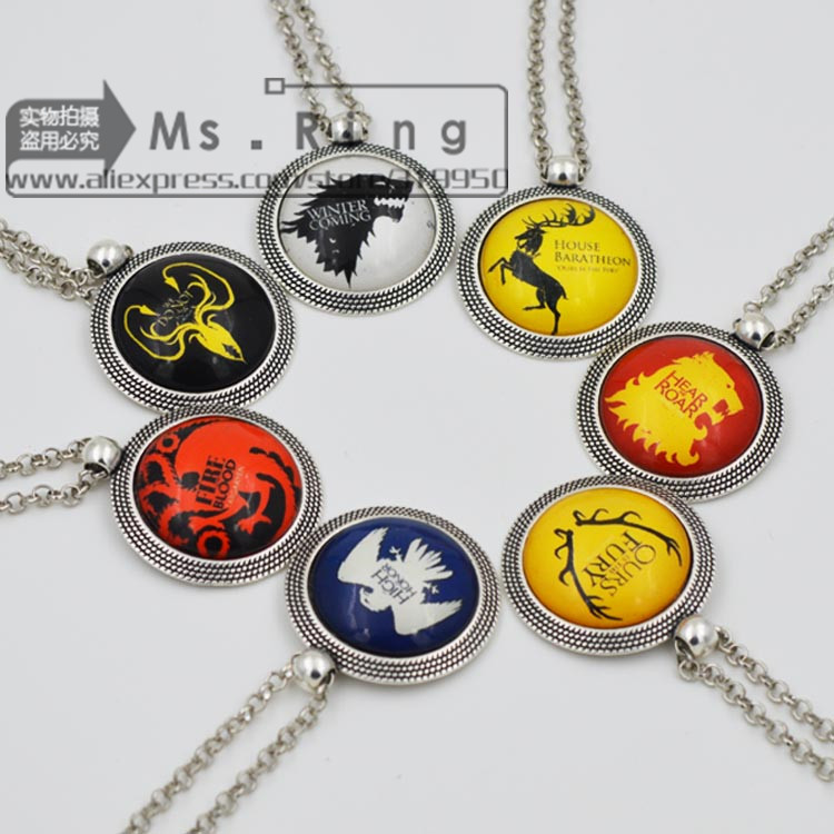 2015 New Vintage Low Price High Quality Jewelry 7 Designs Song Of Ice And Fire Game Of Thrones Picture Glass Pendants Necklace(China (Mainland))