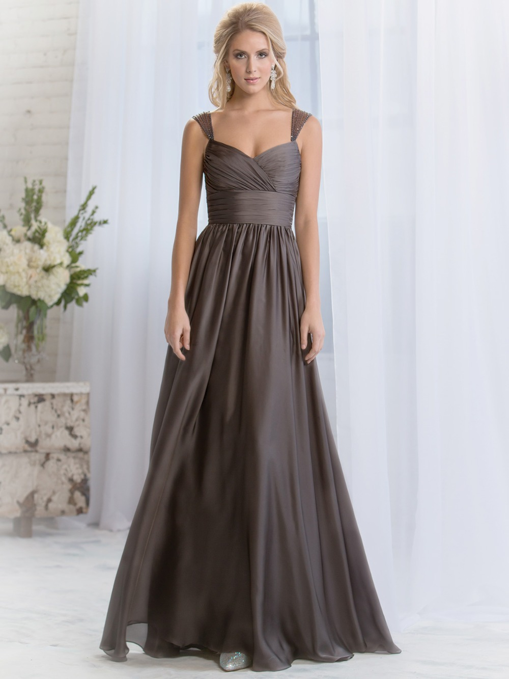 Cheap modest sexy chiffon beading dark brown wedding guest for Dresses for wedding bridesmaid