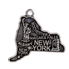 10pcs/lot New Arrival Antique Silver Plated the US New York Map Charm can DIY Bracelet&Necklace Jewelry Making for Women/Men(China (Mainland))