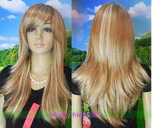 Wholesale& heat resistant LY free shipping>>>LONG GOLDEN BLONDE & BLONDE STRAIGHT WOMEN WIG