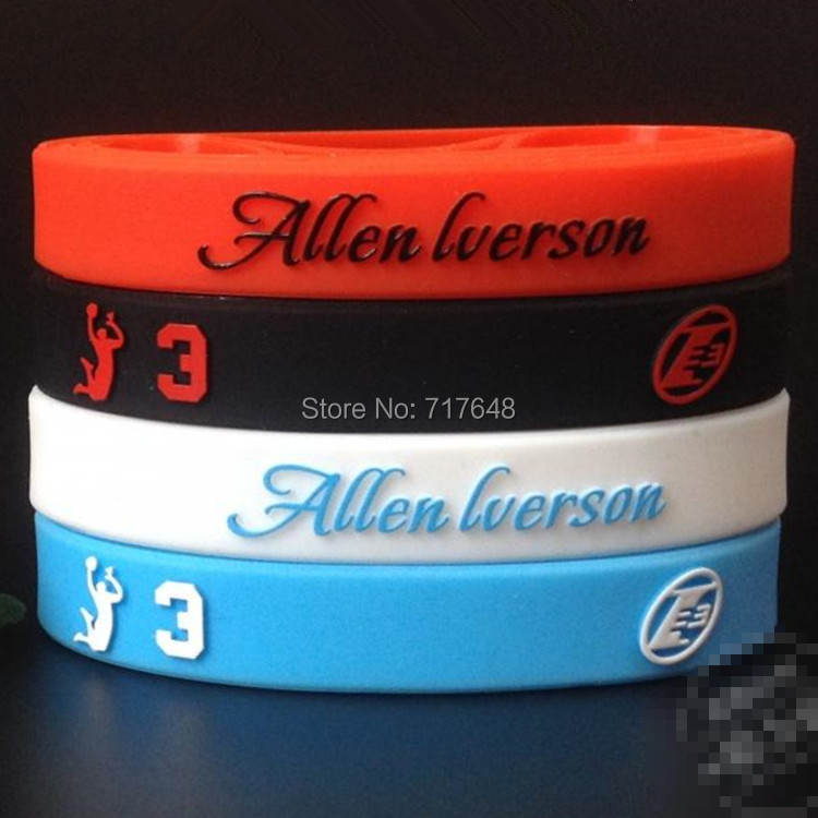 Allen Iverson Wristband Silicone Bracelets embossed printed rubber wrist bands cuff bangle free shipping(China (Mainland))