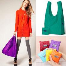 1 unid nueva Eco compras viajes hombro bolsa bolsa bolso de mano plegable reutilizable Bags home garden 9 colores(China (Mainland))