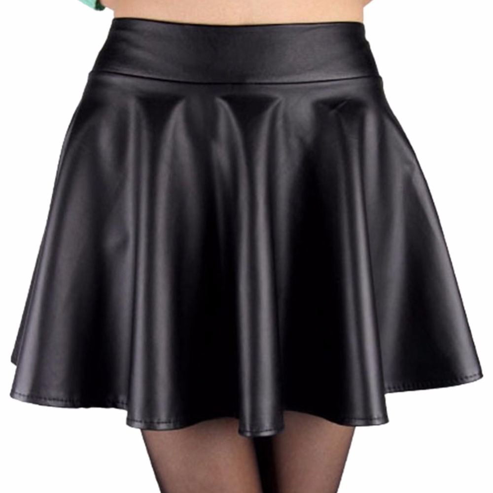 Fashion Women Faux Leather Skirt High Waist Skater flare Mini Skirt Above Knee Solid Color Flared Pleated Short