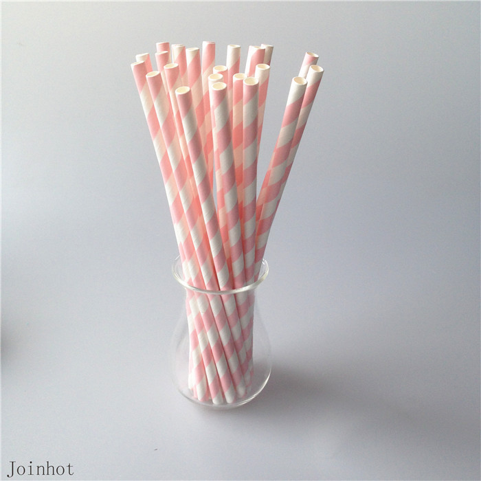 25pcs lot Pink Striped paper drinking straws creative drinking straw Wedding Decorations Birthday Party
