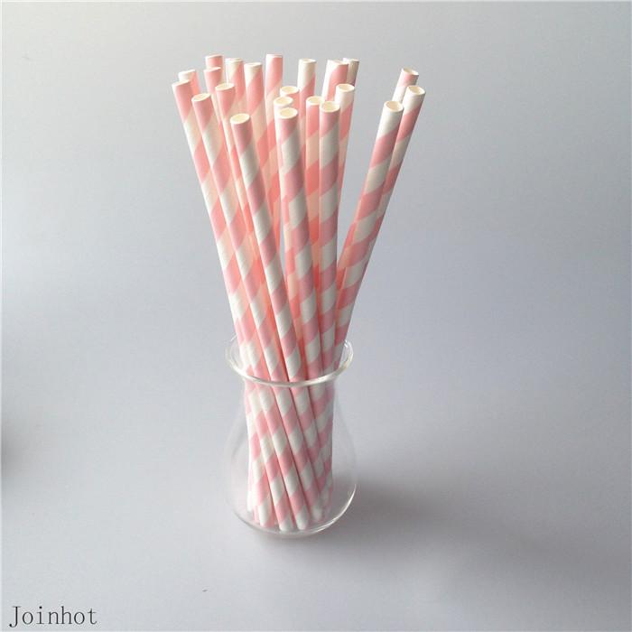 25pcs/lot Pink Striped paper drinking straws creative drinking straw Wedding Decorations Birthday Party(China (Mainland))