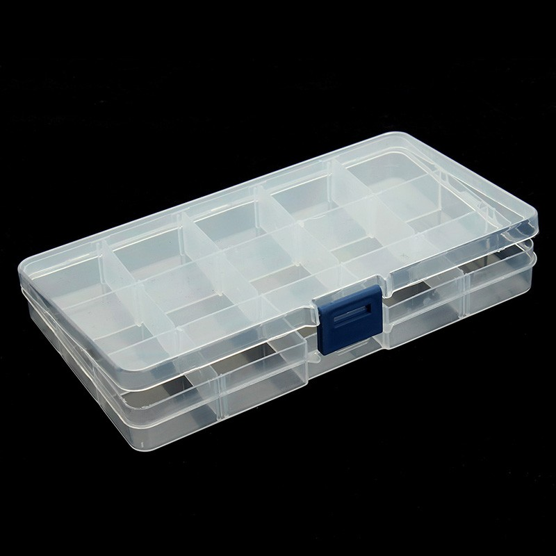 15 Slots Adjustable Jewelry Tool Box Organizer Storage Beads Box Jewelry Finding Boxes Plastic Packaging Boxes F2414(China (Mainland))