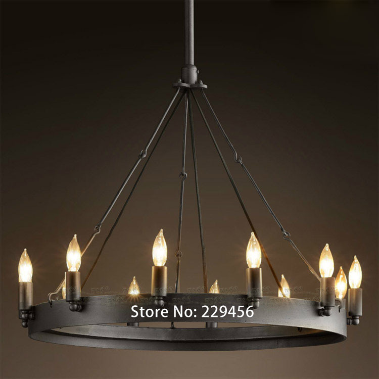 Candles Pendant Light American Vintage Industrial Wrought Iron Living Room Restaurant Lamp Lamparas Lustre E14 110-240V(China (Mainland))