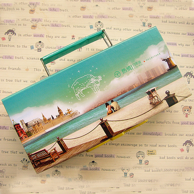 Constellation paper lock portable double layer pencil case stationery box