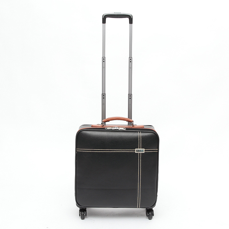 16'' Hign Quality PU leather,Business,Commercial,rolling trolley business luggage with wheels(China (Mainland))