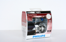 Free shipping!! Car headlight halogen lamp Power Vision +60% 12342PWV H4 12V 60/55W 3300K P43T, Made In Poland for philips(China (Mainland))