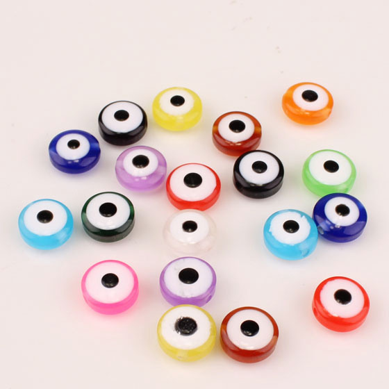 Wholesale 8*5mm Double Face Evil Eye Acrylic Flat Round Loose Spacer Beads for DIY Jewelry Making AC-31(China (Mainland))