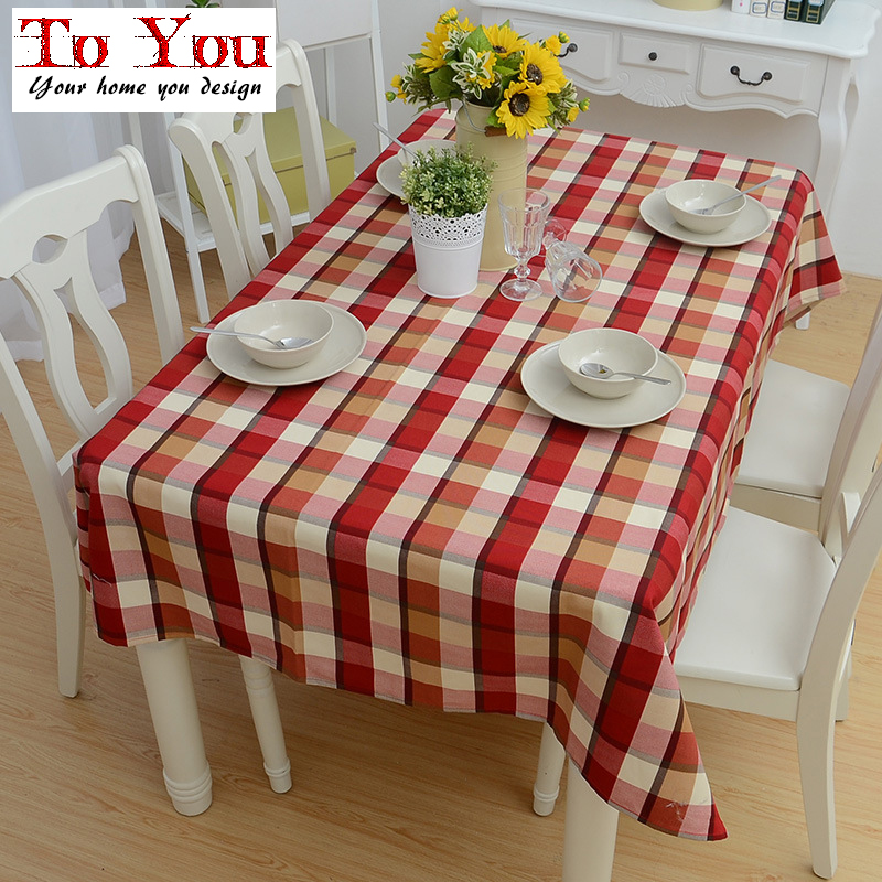 The appropriate simple fashion English wine red curry color tablecloth stripe grid cloth cloth wholesale(China (Mainland))