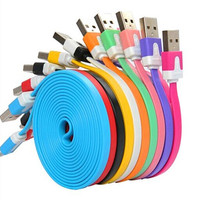 1M 3ft Colorful Flat Micro Usb Sync Data&Charge Cable For Samsung S3 S4 S5 HTC Nokia Android phones