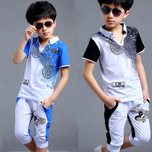 Boys fashion casual sport suit clothing set Motorcycle print short sleeve knitted children's set boys clothes 2016 summer new(China (Mainland))