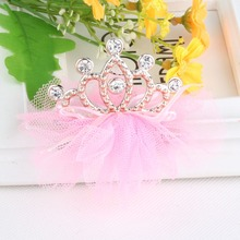 New Baby Hair Accessories Flower Crown Tiaras  Hairpins Girls Accessories Rhinestone Crown Ribbon Bow Crystal Baby Hair Clip