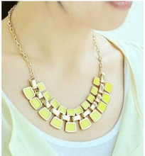 2015 Trendy Necklaces Pendants Link Chain Collar Long Plated Enamel Statement Bling Fashion Necklace Women Jewelry
