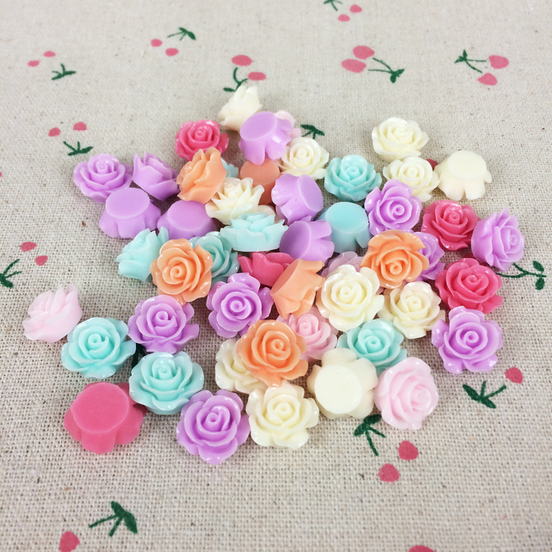 50 Pieces Mixed Color Flat Back Flatback Resin Flower Cabochons Kawaii Cabochon Decorative Craft Embellishment Charm:15MM(China (Mainland))