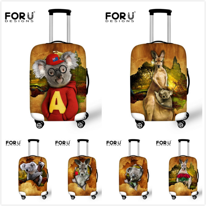 Waterproof Stretch Travel Luggage Suitcase Protective Cover Animal Koala Kangaroo Print Luggage Accessories To 18-30 Inch Cases(China (Mainland))