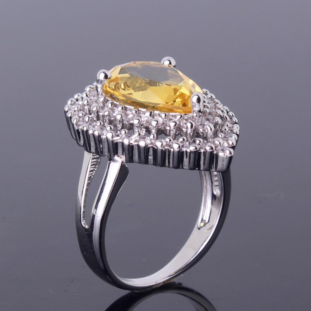 Popular Jewellery 18K White Gold Plated Pear Drop Citrine Crystal Cubic Zirconia Women's Ring Factory Free Shipping R420(China (Mainland))