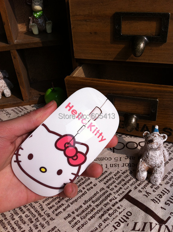 KT white hello Kitty cat wireless mouse cartoon usb optical wireless mouse 2.4GHz 1200 dpi USB(China (Mainland))