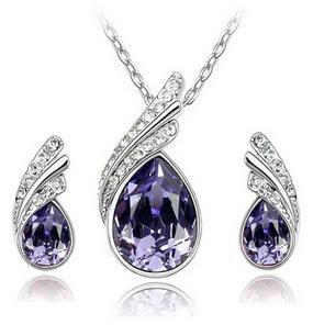 Fashion Austria Crystal Water drop leaves Earrings necklace jewelry sets Classic Wedding Dress B9.5(China (Mainland))