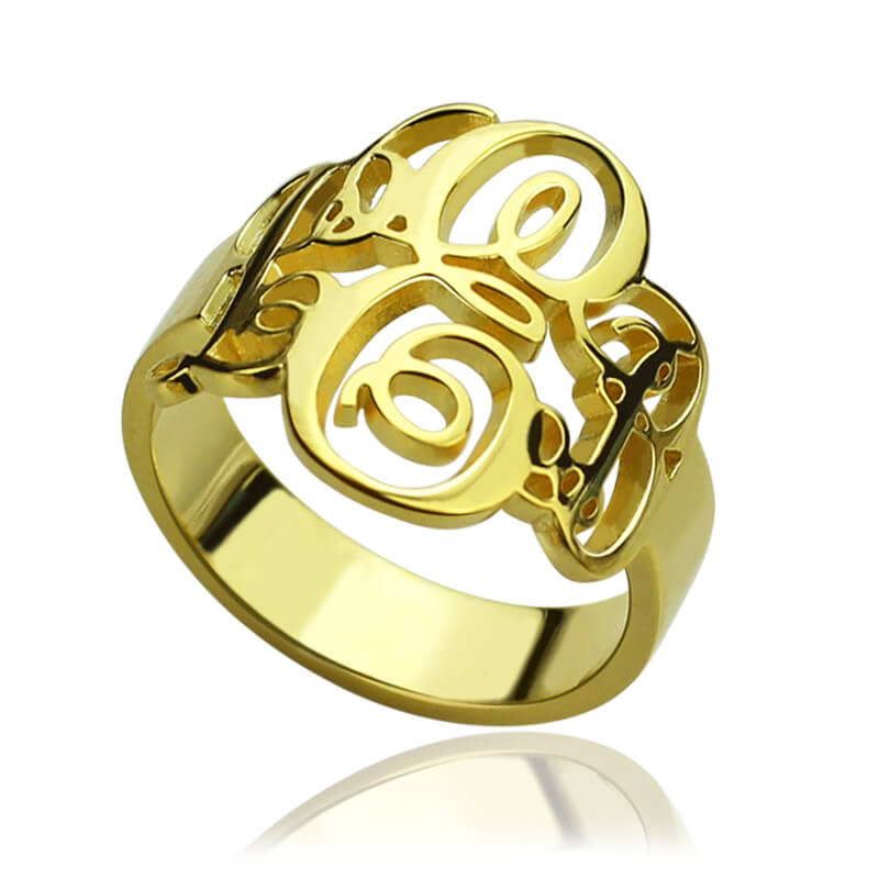 Monogrammed Initials Ring Personalized Vine Monogram Ring Gold Fancy Monogram Name Ring Fall In Love with Customized Jewelry(China (Mainland))