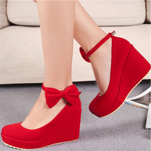 Bow Platform Thick Heels Small Fresh New For Party College Style Cute Red Wedge Fashion Women Shoes Luxury Brand 2015