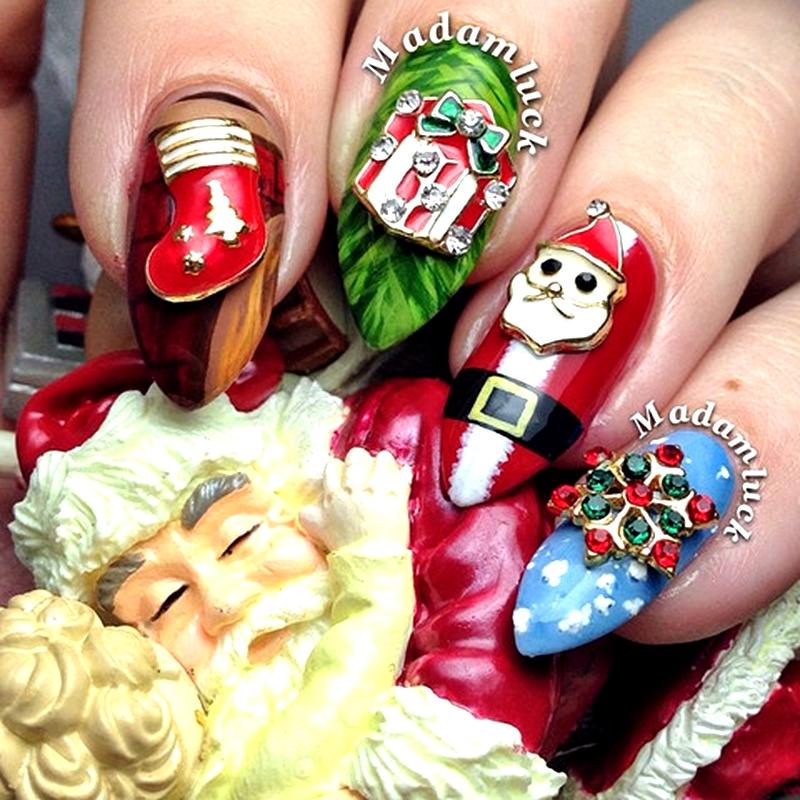 10pcs Festive Christmas Charm Stockings,Snowflake,Gife Box,Santa Claus Glitter Rhinestones 3D Alloy Gold Nail Art Decorations(China (Mainland))