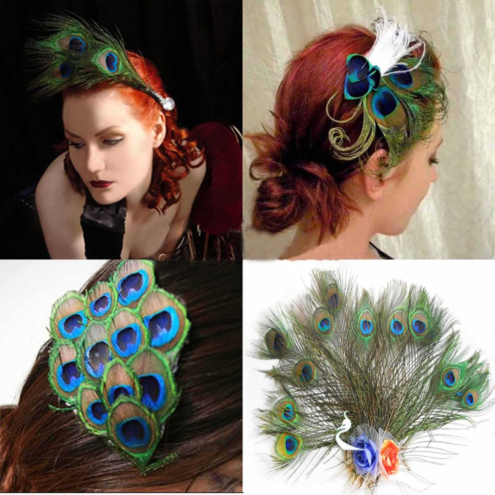 "10 Pcs/lot, Natural Peacock Feathers 10""-12"" (25cm-30cm) Beautiful Style DIY Decoration Hat Decoration Wedding Chrismas(China (Mainland))"
