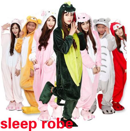 Fashion Unisex Adult Sleep Tops Party Cosplay Animal pajamas Sleep Tops Adult Cartoon Nightgown robe Pikachu/Dinosaur(China (Mainland))