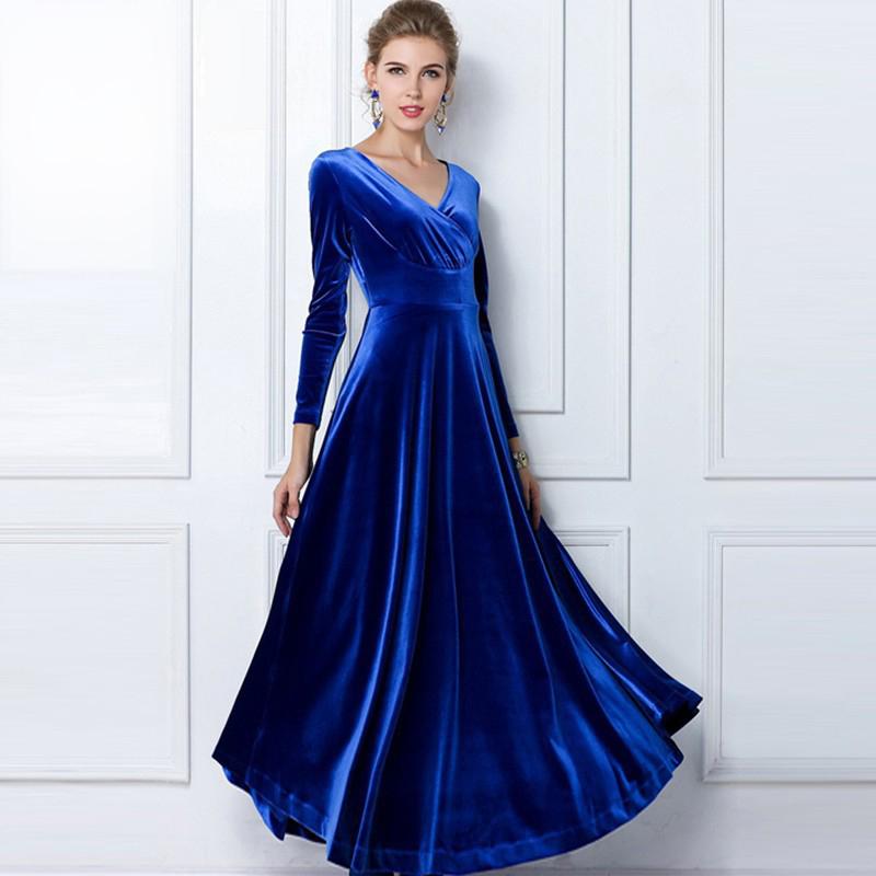 Long Sleeve Maxi Dress Women 2014 Autumn And Winter Plus Size XXL v-Neck Long Large Swing Gold Velvet Dress Free Shipping(China (Mainland))