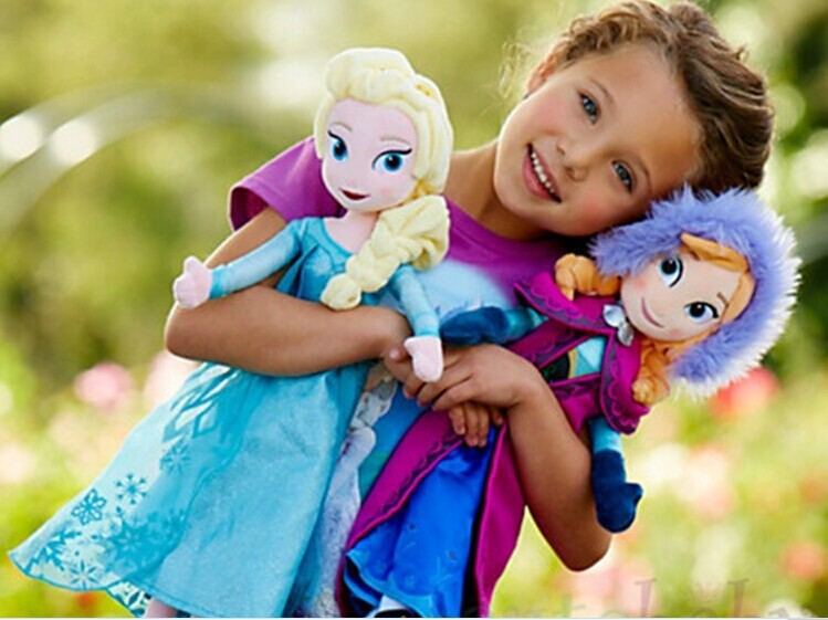 40 50CM brinquedos dolls Plush Toys Princess Anna and Elsa Doll sven olaf Plush soft Doll Kids toys for Girls Children Elsa Anna(China (Mainland))