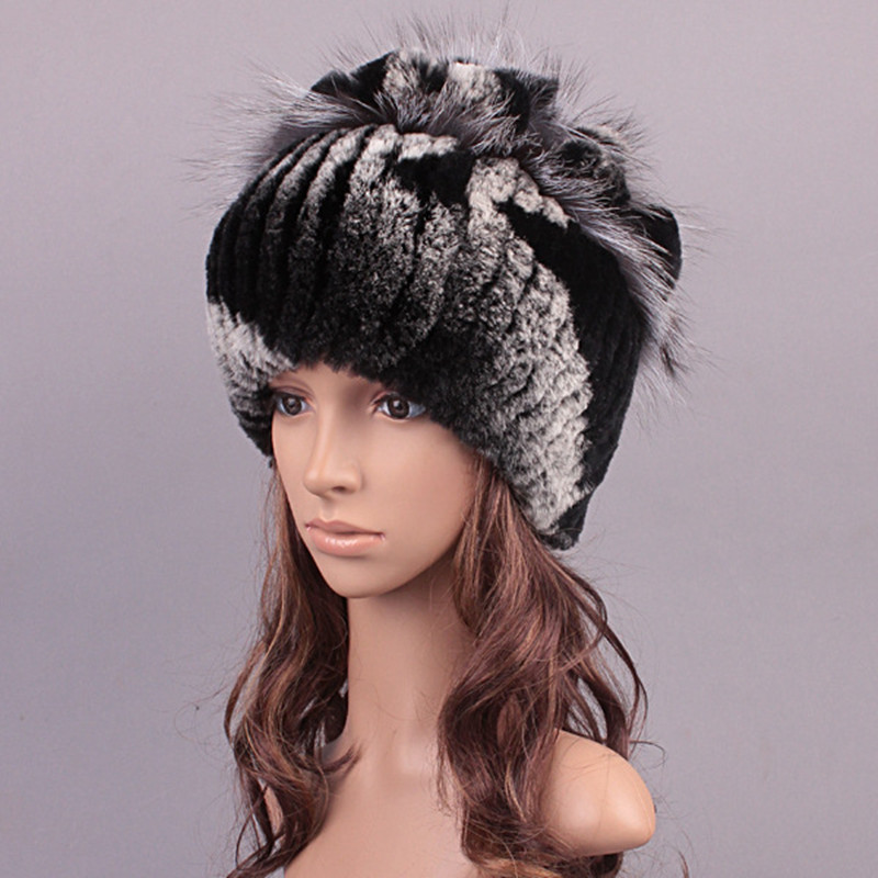 Russian Handmade Women Real Rabbit Fur Skullies Beanies Hats Winter Warm Caps Fashion Headgerar VK3090(China (Mainland))
