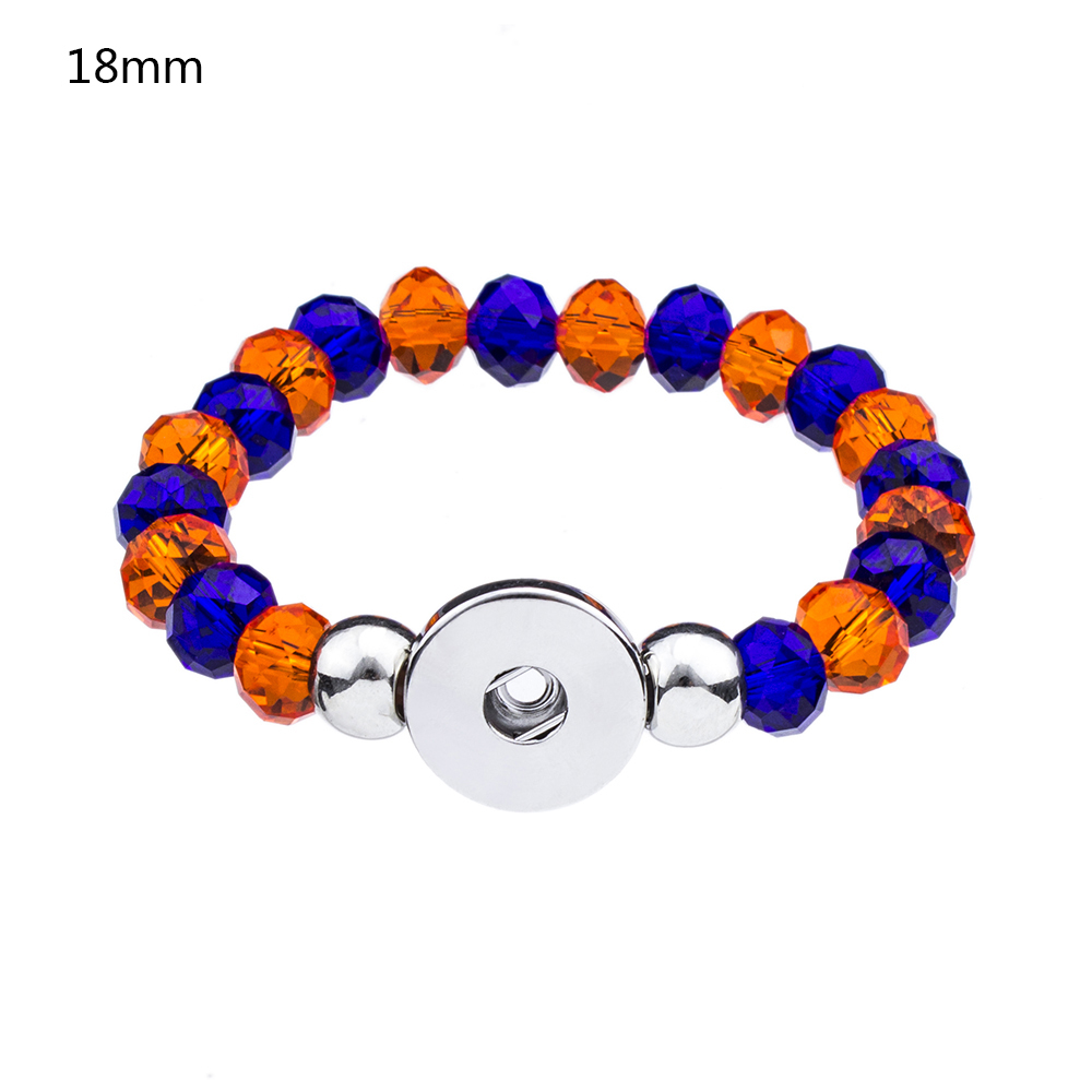 ZB394 Hot Sale 18mm Snap Bracelet Crystal Charms Bracelet Florida Gator's Charms Bracelet Orange Blue American Football Jewelry(China (Mainland))