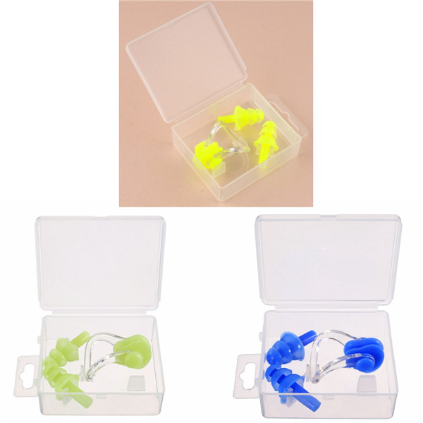 Soft Silicone Swimming Nose Clips + 2 Ear Plugs Earplugs Gear Pool Water Sports Comfort Set Kit with case box(China (Mainland))
