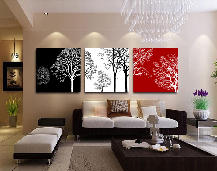 3 Panels Canvas Black white Red Tree Painting On Canvas Wall Art Picture Home Decor THR046(China (Mainland))