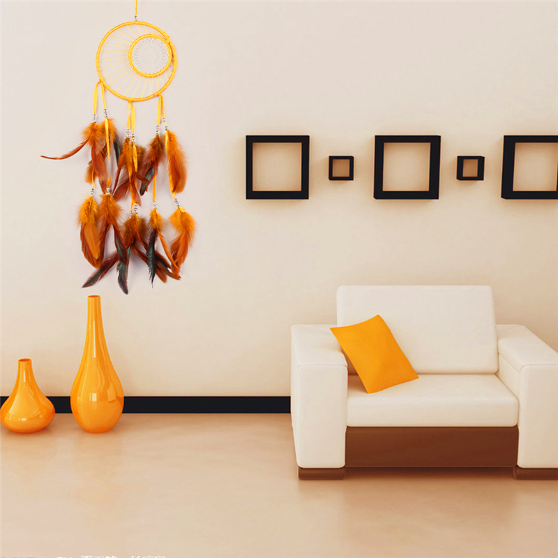 Cheap Dream Catcher Home Decor Yellow Feather Dreamcatcher Wind Chimes Indian Style Religious Mascot Car Wall Decoration