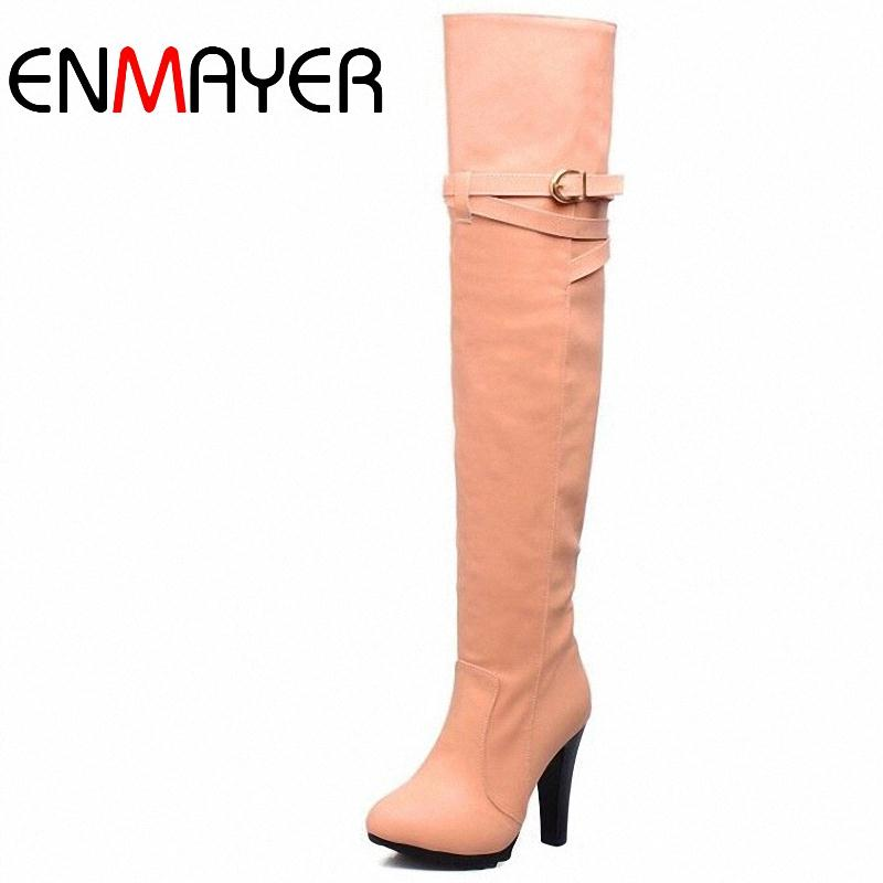 ENMAYER 2015 new winter fashion sexy Buckle thin high-heeled women's slim woman thigh boots over the knee boots ultra long boots