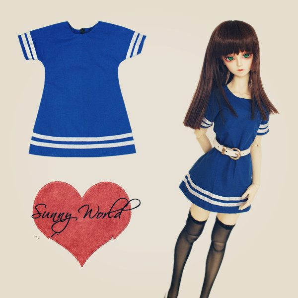 Simple Navy Dress BJD 1/4 MSD 1/3 DD/DY Luts DOD,AS,DZ Doll Clothes CW12